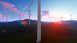Wind turbine farm on green meadow, rays of light at sunrise, tilt Animation