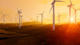 Wind turbine farm over green meadow, rays of light at sunset, tilt Animation