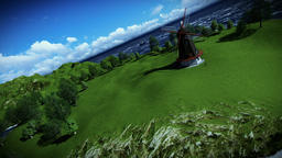 Windmill on green meadow, camera fly Animation