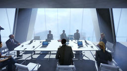 Business team in conference room, camera track to city view Animation