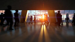 Business People Silhouettes Walking Commuter, Rear View City Skyline at Sunset Animation