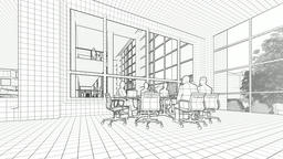 Business team silhouettes meeting, office building, 3d sketch to color Animation