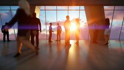 Businessmen talking, office against sunset Animation