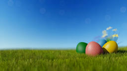 Colorful Easter eggs on green meadow over blue sky Animation
