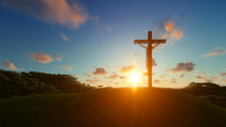 Jesus on cross over sunset, concept for religion Animation