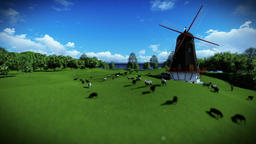 Sheeps and windmill on green meadow Animation
