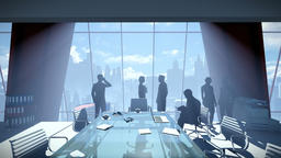 Silhouette of Business People Team, Rear View Cityscape Animation