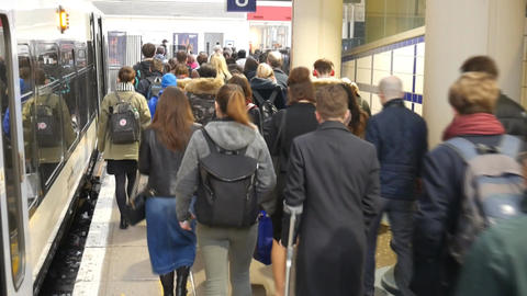 Passengers go on the platform Footage