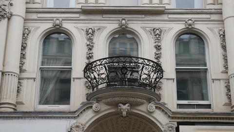 Balcony and windows of an old building Footage