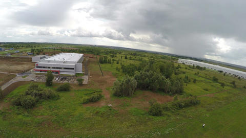 Upper View Industrial Building Complex among Landscapes Footage