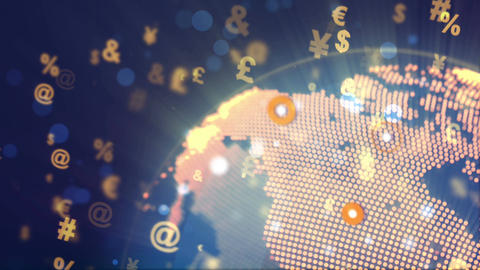 Abstract World Globe Rotation with currency signs Animation