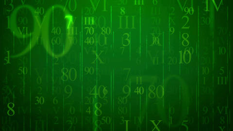 Random numbers figures on a green background Animation