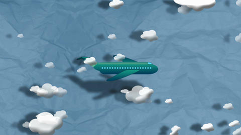 Cartoon Airplane flying through clouds Animation
