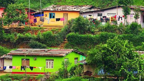Small village located in highlands near tea tree plantations. Sri Lanka Footage