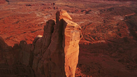 Aerial Butte Rock Formation Footage