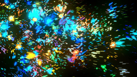 Abstract Blue Fireworks Particles Animation