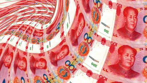 Yuans banknote tunnel, financial depression, financial crash, 3D rendering Animation
