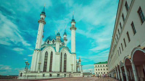 Timelapse Motion Around Kul Sharif Mosque against Blue Sky Footage