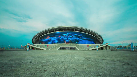 Timelapse Camera Moves along Kazan Arena Football Stadium Footage