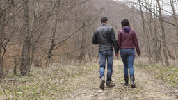 Teenagers couple walking outdoors Footage
