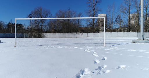 Soccer gate in winter Live Action