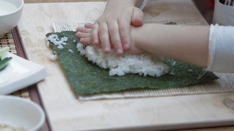 children make sushi Footage