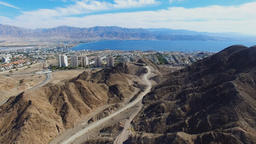 Eilat, Israel - Aerial footage over Solomon's mountains, revealing Eilat's skyli Footage