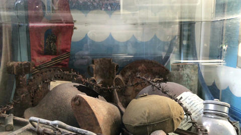 Museum showcase with military attributes Stock Video Footage