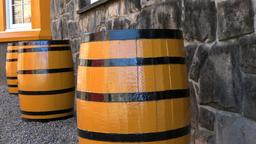 Great Britain Scotland Ross-shire Tain Glenmorangie Whisky barrels outside Footage