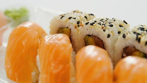 Plate of nigiri and uramaki sushi Live Action