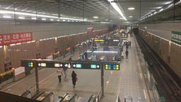 Passengers transferring between trains on Taipei Metro Taipei Taiwan Footage