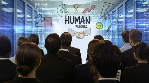 Business people looking at digital screen showing human resources Footage