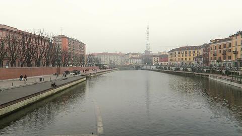 Milan, Italy Navigli district Darsena riverside area Footage