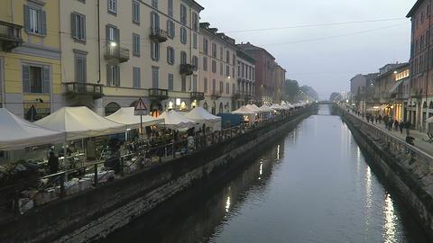 Milan, Italy Naviglio Grande flea market riverside area Footage