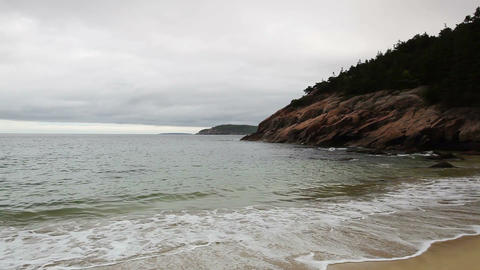 View of the rocky cliff shore line at Acadia National Park Footage
