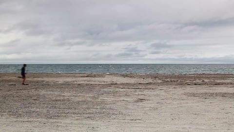 Stupid boy on the Cape Cod Sandy Neck Beach Filmmaterial