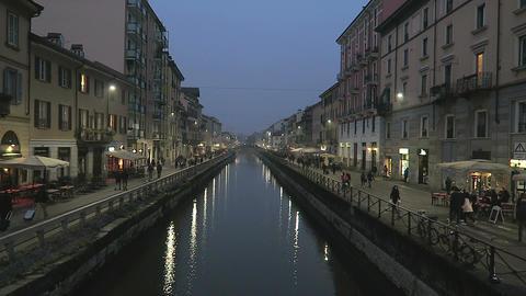 Milan, Italy Naviglio Grande riverside area Footage
