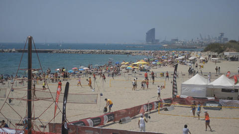 Barcelona Beach Sport Crowd Footage