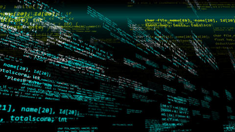 Blue, white and yellow software programmer code Stock Video Footage