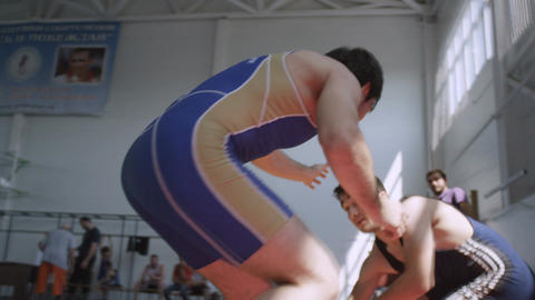 Slow Motion Greco-roman Wrestling between Wrestlers Live Action