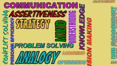 Video business concept with animated words - communication, assertiveness, strat