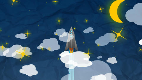 Cartoon Flat rocket flying up though clouds Animation