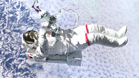 Animation of NASA Astronaut on the cloudy blue sky Animation