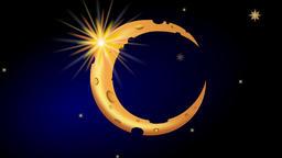 Rocking cartoon Moon with shiny star Stock Video Footage