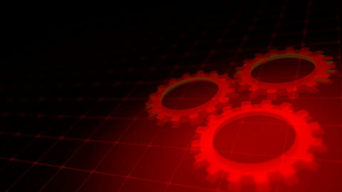 Concept of cooperation process - red neon gears loop 3D render Animation