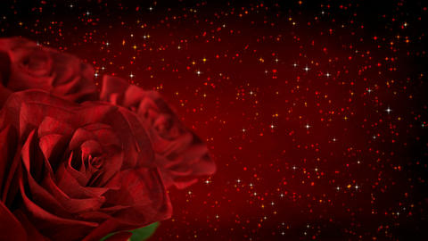 rotating red roses with glitter particles - 3D render. seamless loop Animation