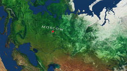 Moscow - Russia zoom in from space Animation