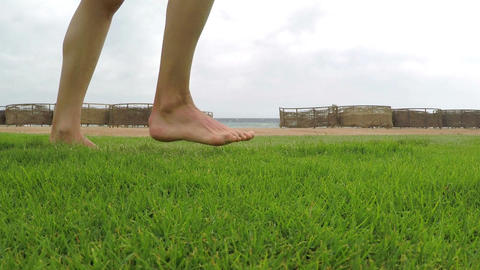 Walking on the grass Footage