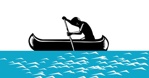 Athlete Paddling Canoe Up River 2D Animation Animation