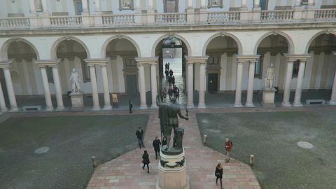 Milan, Italy Brera Academy courtyard statue of Napoleon Footage